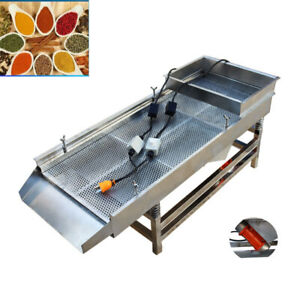 Intbuying 220v Power Stainless Linear Vibrating Screen 2 Motor Shaker Machine Us