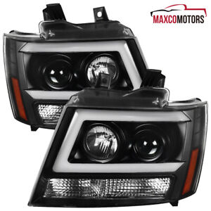 For 2007 2014 Chevy Tahoe Suburban Black Led Drl Strip Tube Projector Headlights