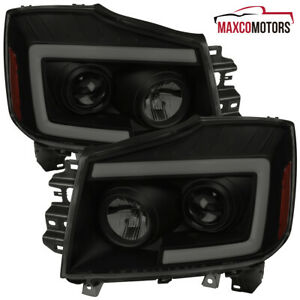 Blk Smoke For 2004 2015 Nissan Titan Projector Headlights led Sequential Signal