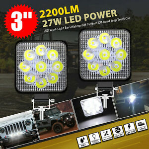 Pair Led Work Light Bar Flood Spot Lights Driving Lamp Offroad Car Truck Suv 27w