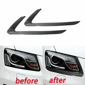 Real 3k Carbon Fiber Front Headlight Eyebrow Eyelids For Audi Q5 2010 2015