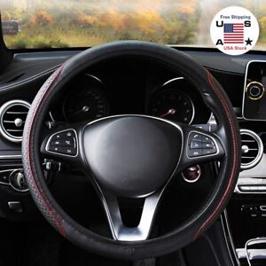 Car Steering Wheel Cover Protector Black Red Carbon Fiber Leather Anti Slip Us