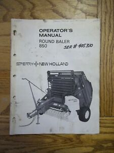 New Holland 850 Round Baler Owners Manual