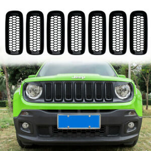 Front Grille Inserts Mesh Abs Grill Guard Cover Trim For Jeep Renegade 2015 2018