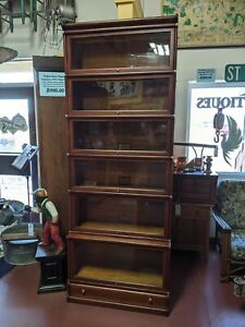 Antique 6 Stack Barrister Lawyers Bookcase Globe Wernicke Restored Mahogany 90