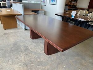 8 w X 4 d Rectangular Shape Conference Table In Mahogany Finish Wood