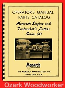 Monarch 60 Series 13 16 20 Metal Lathes Operator s Parts Manual 1316