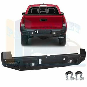 Offroad Textured Steel Rear Bumper Guard W Led Lights For 16 19 Toyota Tacoma