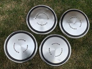 Vintage Ford Motor Company Pickup Truck Dog Dish Style Hubcaps 10 1 2 Set Of 4