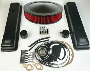 58 79 Sbc Chevy 350 Black Engine Dress Up Kit Tall Valve Covers Air Cleaner Kit