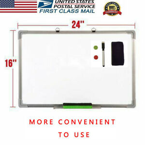 24 x16 Single sided Magnetic Whiteboard Office Drawing Writing Board School Us