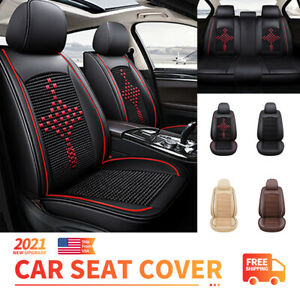 Upgrade 5 Sits Car Seat Covers Leather Universal Full Set For Suv Truck Sedan