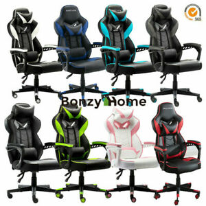 Racing Gaming Padded Chair Office Recliner Pu Leather High Back Flame Retardant