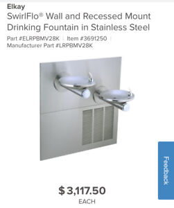 Elkay Swirlflo Wall And Recessed Mount Drinking Fountain In Stainless Steel