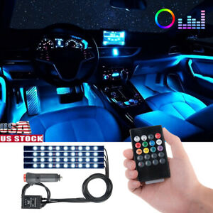 36 Led Car Suv Interior Decor Neon Atmosphere Light Strip Music Control Color Us