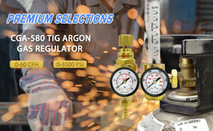 Argon Flow Meter Regulator Tig Mig Welder Welding Gauge Gas saving Cga580 Inlet