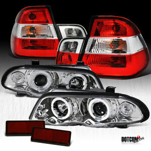 1999 2001 Bmw E46 3 Series 4dr Clear Led Projector Headlights Red Tail Lamps