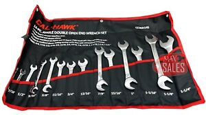 New 14pc Angle Head Wrench Combination Sae Open End Set Cr v Heavy Duty