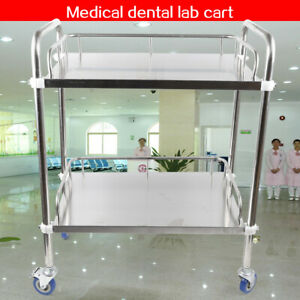 Portable Thick Stainless Two Layer Dental Lab Rolling Cart Trolley