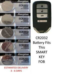 Honda Remote Key Fob Replacement Battery For Smart Key Energizer Cr2032 5 Pack