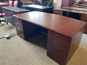 6 Executive Bow Front Wood Desk By Jofco Office Furniture In Cherry Finish