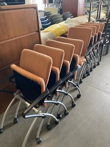 Lot Of 8 Nesting Guest side Chairs W Casters By Haworth X99