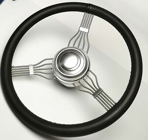 New 15 Banjo Style Steering Wheel Black Leather With Alum Adapter Horn Button