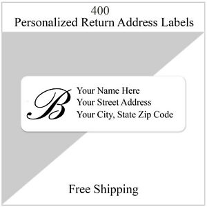 400 Monogrammed Return Address Labels Personalized Printed 1 2 Inch X 1 3 4 Inch