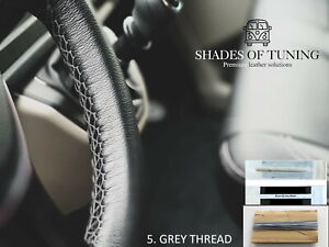 For Citroen Jumper 20 Black Leather Steering Wheel Cover Grey Stitch