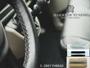 For Hino 300 Black Leather Steering Wheel Cover Grey Stitch