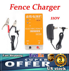 Electric Solar Fence Energizer Controller Ranch Animal Orchards Fencing Charger