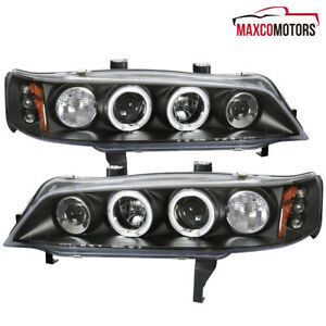 Matte Black For 1994 1997 Honda Accord Led Dual Halo Projector Headlights Lamps