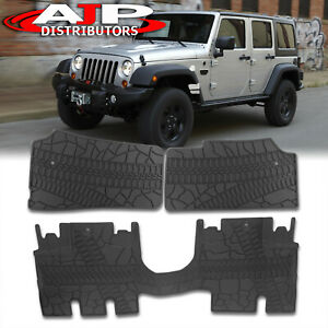 All Season Protect Floor Mats Liners Front Rear For 2007 2013 Jeep Wrangler 4 Dr
