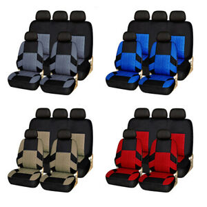 Car Seat Covers Full Set Front Rear Headrests Universal For Truck Suv Van