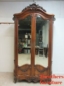 Antique Walnut French Monumental Wardrobe Armoire Chest Cabinet Linen Closet