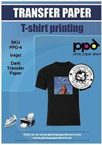 Ppd Inkjet Premium Iron on Dark T Shirt Transfers Paper Ltr 8 5x11 Pack Of 50