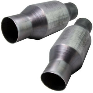 2x 2 5 Inch High Performance Spun Body Cat Catalytic Converter 410250 Stainless