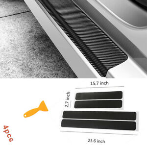 Car Door Sill Plate Decorative Sticker Carbon Fiber Decors Universal Accessories