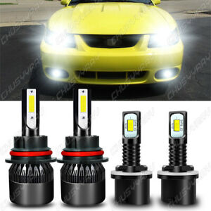 Led Headlight Fog Light Bulbs Kit 8000k For Ford Mustang Gt Svt Cobra 1999 2003