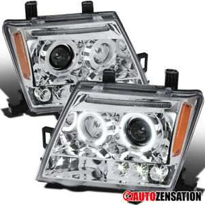 For 2005 2012 Nissan Xterra Clear Led Halo Projector Headlights Lamps Left Right