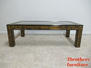 Vintage Mastercraft Ebonized Brass Etched Rectangular Glass Top Coffee Table