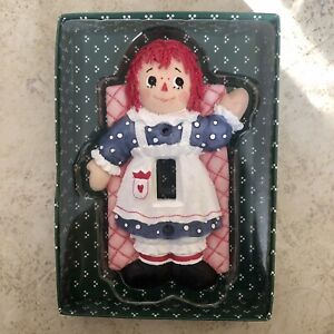 Vintage Ceramic Light Switch Plate Cover Raggedy Ann Hand Painted