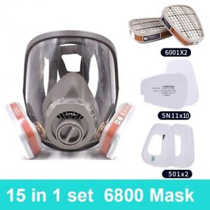 Reusable Gas Mask W Activated Carbon Filter Protect Against Gas Paint Chemicals