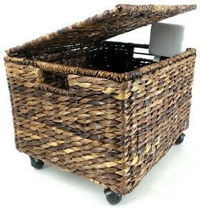 Birdrock Home Woven Abaca Rolling File Cabinet For Letter Legal Size Files