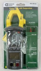 Commercial Electric Clamp Meter With Temperature 600v Ac dc Voltage