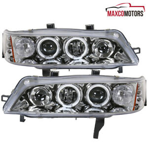 For 1994 1997 Honda Accord Led Drl Dual Halo Projector Headlights Parking Lamps