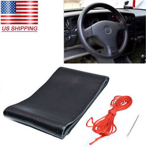 Black red Genuine Leather Diy Car Steering Wheel Cover With Needles And Thread