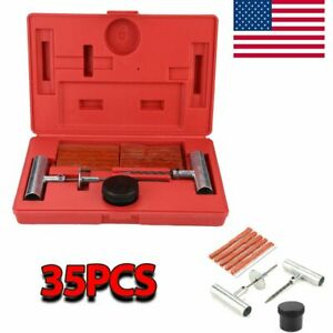 Tire Repair Tool Kit Case Plug Patching Tubeless Tires Insert Spiral Hex 35pcs