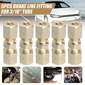 Straight Brass Brake Line Compression Fitting Unions For 3 16 Od Tubing 5 Pack
