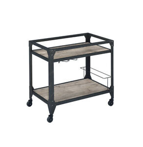 Acme Jorgensen Cart With Rustic Oak And Charcoal Finish 98355